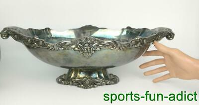 antique Lunt V-75 Victorian Silverplate Hollowware Oval Footed Centerpiece Bowl
