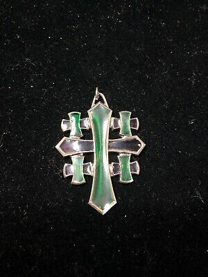 Vintage Sterling Silver Purple & Green Acrylic Inlay Cross 46mm Pendant