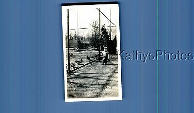 Found Vintage Photo A_1114 Little Boy Posed By Fence,Birds Behind