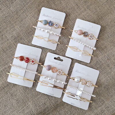 3Pcs /Set Women Pearl Acrylic Clips Snap Barrette Stick Hairpin Hair Accessories