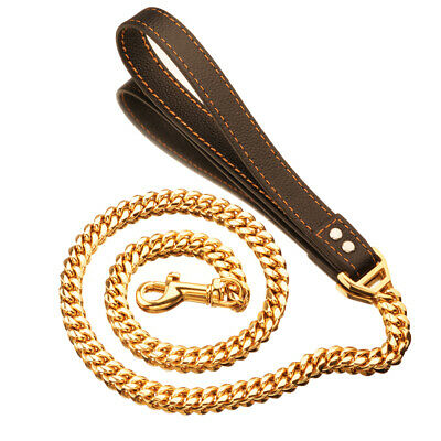 Heavy Duty Strong Gold Steel Chain Dog Leash with Comfortable Genuine Leather