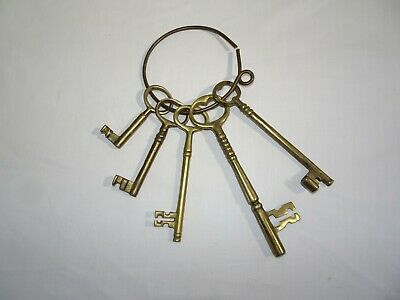 Vintage Set of 5 Large Brass Keys on Ring Decorative Wall Hanger