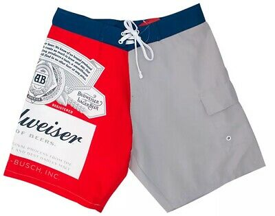 a62a071d0ea15 BUDWEISER Board Shorts King Of Beers Classic Beer Label Mens Swim Trunks S