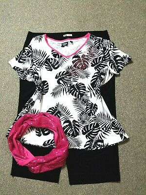 WOMEN'S PLUS SIZE CLOTHING Lot of 3 Size 16 1X Capri, Embellished Top, Scarf