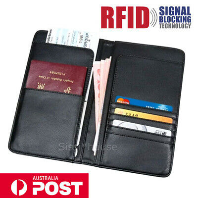 NEW Travel Wallet RFID Blocking Anti Scan Long Passport Holder PU Leather GIFT