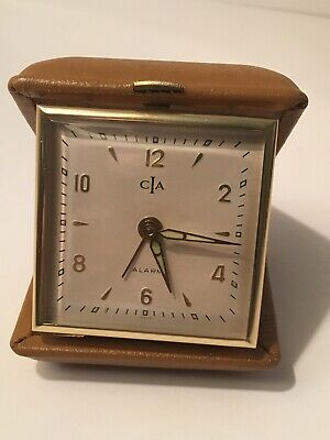 Vtg CIA Travel Alarm Clock Brown Faux Leather/ Made in Japan Auction Finds 702