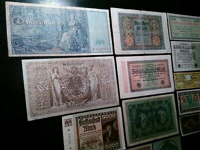 Old Banknotes Lot Germany1910-1923 Empire Wwi Weimar 1 Mln 136000 Mark Some Unc