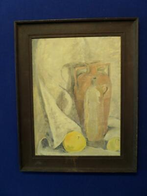 large mid 20th century oil painting still life study with jars and fruit