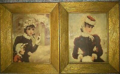 Vintage 50's French Paris Lady Hat & Gloves Print Shabby Chic Gold Picture Frame