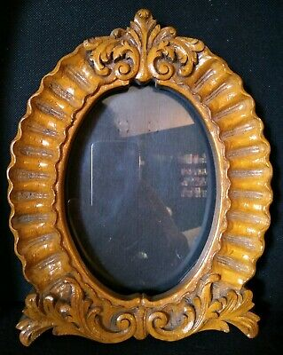 Vintage Red Brown Pressed Wood Victorian Carved Rococo Look Oval Picture Frame