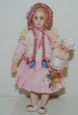 """Antique Dollhouse Miniature Doll 4"""" Holding Marotte Reproduction Pink Dress"""