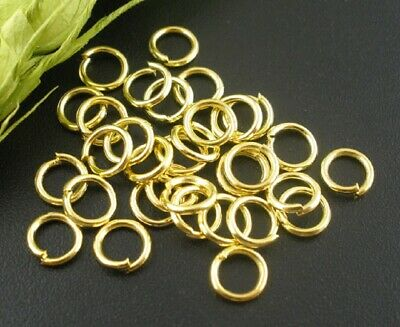 100x Gold Plated  Alloy Open Jump Rings Split Rings 6mm Dia x1mm thick (B03888)