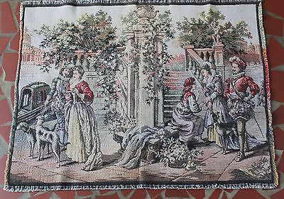 Vintage Tapestry Wall Hanging Small Rug Victorian People Women Men Dogs