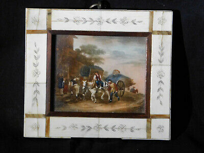 Antique Original Oil Miniature Genre Painting w/Inlaid CarvedFrame-Artist Signed