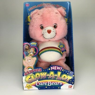 Care Bears Cheer Bear Glow A Lot Glow In the Dark Glitter Pink Rainbow 2006