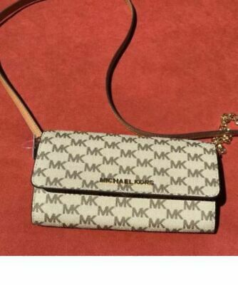 380685536121 Michael Kors Jet Set Travel Large Leather Wallet On The Chain Crossbody Bag  Brow