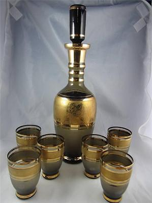 Rare Vintage Mid Century Decanter W/ 6 Glasses - Smoke Gray Gold Overlay Frosted