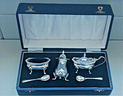 Boxed Sterling Silver Pepperette & Spoons with Silver Plate Salt & Mustard Pot