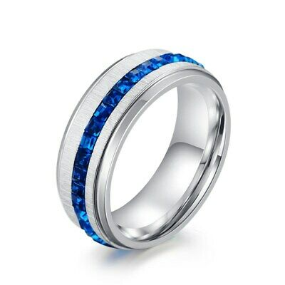 8MM Blue/White Cz Bands Men's Titanium Steel Silver/Black Brushed Ring Size 7-11
