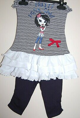Girls Kids Summer Outfit Set Tunic Crop Leggings Cotton Age 2 3 4 5 Years