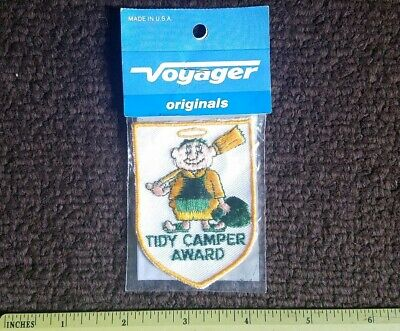TIDY CAMPER AWARD PATCH Camping Outdoor Adventure Embroidered VINTAGE 80s