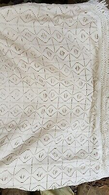 Vintage Spanish Cotton Lace Bed Cover King Size