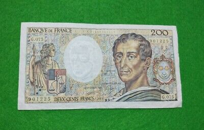 "France ""Montesquieu"" 200 Francs large banknote 1989 French pre-Euro currency"