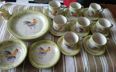 8 Chicken Pattern Cups and Saucers, 3 Dinner Plates, 1 Bowl and 1 Side Plate