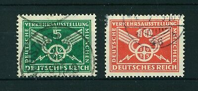 Germany 1925 Munich Traffic Exhibition full set of stamps. Used. Sg 387-388.