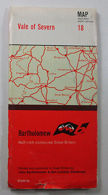 1965 vintage Bartholomew's Half-inch map series sheet 18 Vale of Severn CLOTH