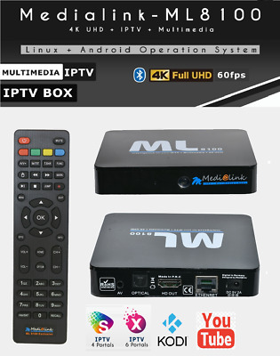 MEDIALINK ML8100 TV Box Android Stalker Xtream 4K Full UHD 2160p WIFI MAG  254 W1