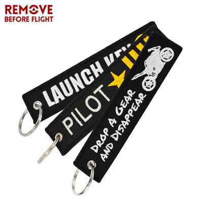 Biker Motorcycle Letter Embroidered Fabric Strap Tag Keys Holder Ring Keychain