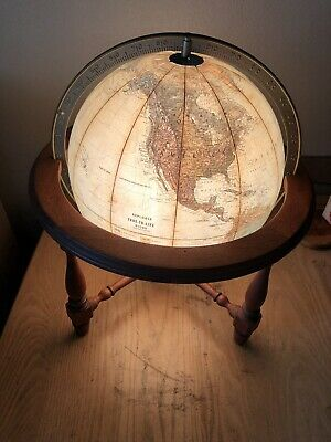 "Vintage Replogle Tru-To-Life Series 12"" Light Up Table/Desk Globe Lamp Wooden"
