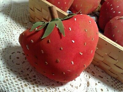 Three Large Primitive Strawberry bowl fillers or cupboard tucks