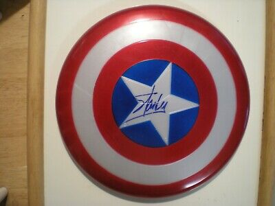 "Hand Signed The Late Stan Lee-""Captain America"" Flying Disc-Marvel Comics-Coa"