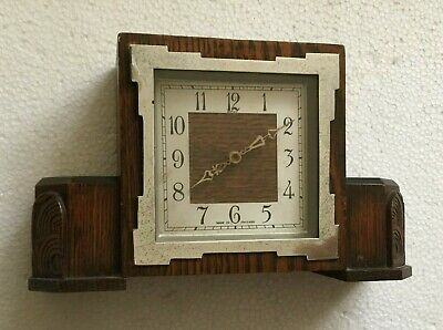 Art deco vintage oak and chrome Enfield  mantlepiece clock