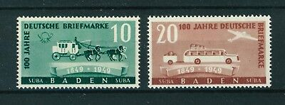 Germany 1949 French Zone Baden Stamp Centenary stamps. Mint. Sg FB54-FB55.