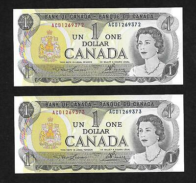 2x Canada $1 bills 1973 – sequenced ( serial numbers ACD1269372 & ACD1269373 )