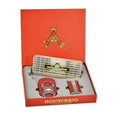 Montecristo Red Accessories Assortment Cigar Lighter Cutter Humidifier Gift Box
