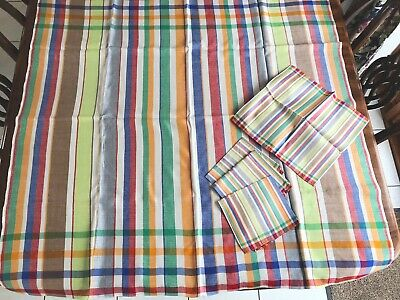 "Vintage Unused Striped Checked Rayon / Mix  Tablecloth 4 Napkins 43x45"" 13x13"""