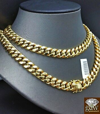 Men 10K Yellow Gold  Cuban Link Chain Necklace 11mm 20 Inch Box Lock,Strong,REAL