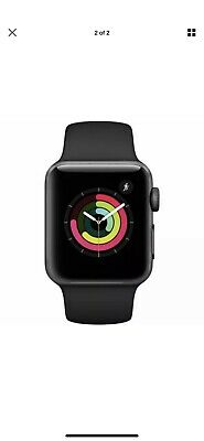 USED APPLE WATCH SERIES 3 38mm SPACEGRAY ALUMINUM CASE BLACK SPORT BAND MTF02LLA