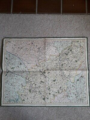 C&J Cary Northamptonshire  Linen Backed Road Map 1828 Folding In 4 Parts
