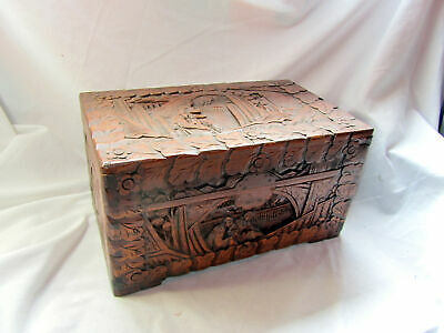 A Vintage Hand Carved Wooden Chinese Good Sized Box