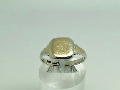 Vintage Art Deco 9ct & Sterling Silver Blank Unengraved Mens Signet Ring Size W