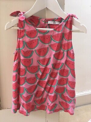 Marks & Spencer M&S girls red pink watermelon top & trousers set age 5-6 years