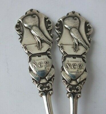 "Unusual Pair of Antique Solid Sterling Silver ""Pigeon"" Tea Spoons 1913/ 12.9 cm"