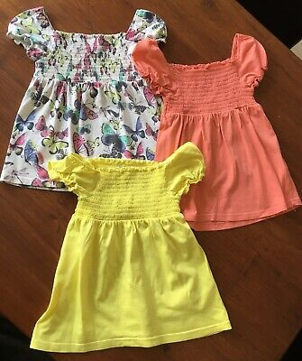 3 x Marks & Spencer M&S girls tops t-shirts Orange, Yellow, Butterfly 4-5 years