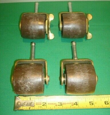 Vintage Furniture Casters Wheels Rollers Wood Set 4