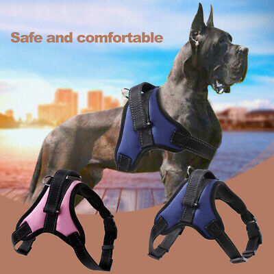 Dog Harness For Large Medium Dogs Adjustable Reflective Harnesses Blue&S S2L0